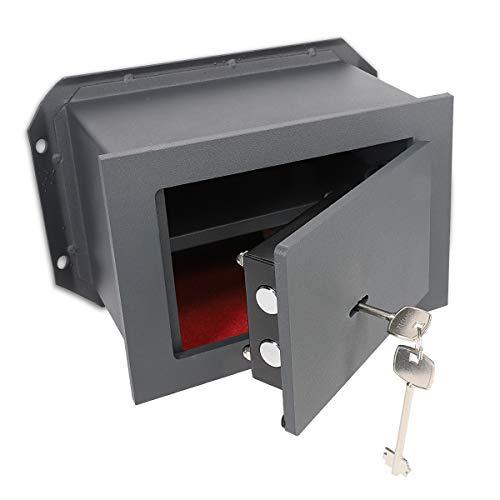 Navaris Caja fuerte empotrada con doble llave - Caja de seguridad de acero macizo - Caja blindada para pared de hormigón
