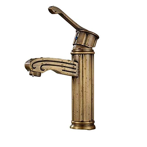Grifo Grifo (agua); grifo; Bibcock latón antiguo cuenca de agua caliente y frío grifo manija simple orificio sentado retro lavabo mezcla grifo de ahorro de agua y salpicaduras de salpicaduras.