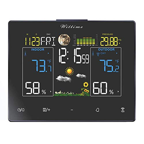 Wittime 2077 Weather Station, Wireless Indoor Outdoor Thermometer, Temperature and Humidity Monitor Gauge, Clock with Weather,Color Large Display, Alarm Clock and Moon Phase