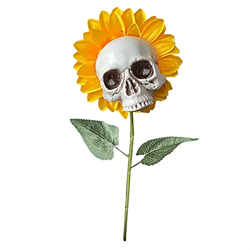Halloween Sunflower Skull Decoración de jardín al Aire Libre Falso Flor Estatuas Adornos (Color : B)