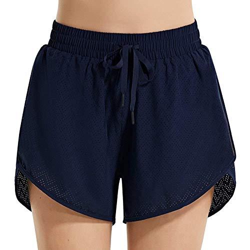 Pantalón Corto de Color Sólido con Cinturón Elástica Ajustable, Pantalones Cortos de Deporte para Mujer, Short Deportivos Verano, Pantalón Corto para Yoga Casual Gimnasio Estiramiento