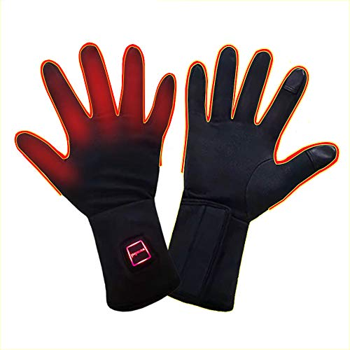 Rechargeable Electric Heated Gloves for Men and Women, Heated Gloves for Arthritis Hands,Ultrathin Hand Warmer Gloves Screen Touchable,Winter Flexible Washable Heated Gloves with Battery (L)