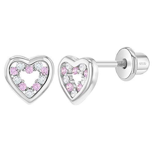 In Season Jewelry - Baby Säugling Mädchen - Schraubverschluss Ohrringe Offenes Herz 925 Sterling Silber Klarer Rosa CZ Zirkonia