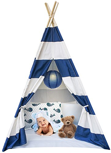 Sorbus Kids Foldable Teepee Play Tent Playhouse Classic Indian Style Play Tent and Carry Bag, Walls with Door, Window and Floor (White and Blue)
