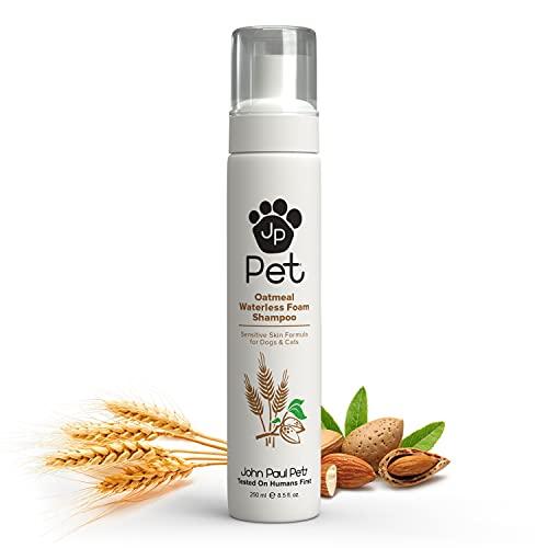 John Paul Pet Oatmeal Waterless Foam Shampoo for Dogs and Cats, Sensitive Skin Formula, 8.8-Ounce