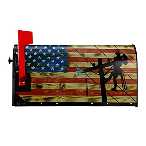 21x18 in YangPa Lineman American Flag Summer Magnetic Mailbox Cover Garden Patio Home Decoration for Exterior One Size 21x18 Inch