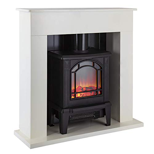 Warmlite Ealing Electric Fireplace Suite with Adjustable Thermostat Control, 2 Heat Settings, LED Flame Effect, Safety Cut-Out System, White