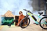 """EMotorad T-Rex Unisex 26T 7 Speed Shimano Electric Cycle 17"""" 6061 Aluminum Alloy Hardtail Frame Front Suspension MTB (Green)"""