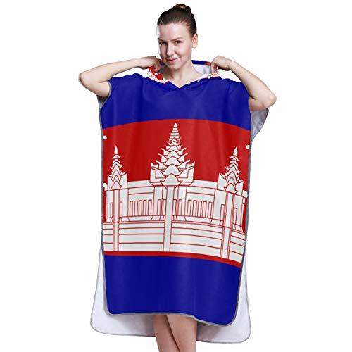 All3DPrint Kambodscha-Flagge, Bademantel, Badetuch, Poncho, Strand, Wickelmantel