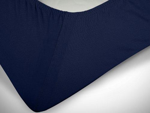 npluseins klassisches Jersey Spannbetttuch – erhältlich in 34 modernen Farben und 6 verschiedenen Größen – 100% Baumwolle, 70 x 140 cm, navyblau - 6
