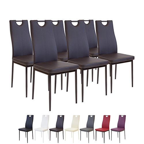 Albatros 2917 SALERNO 6 x braun Esszimmerstühle, Lederimitat, 6 Stühle