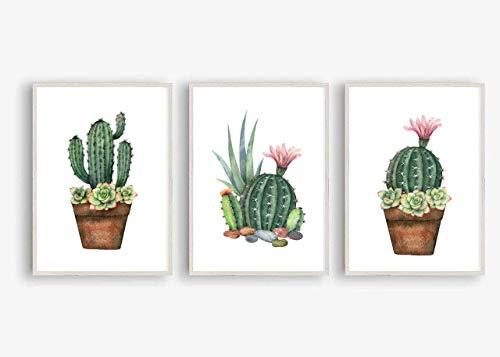 Din A4 Kunstdruck ungerahmt 3er Set - Kaktus mit Blüten Sukkulenten Agave Aquarell Natur Topfpflanze Druck Poster Bild