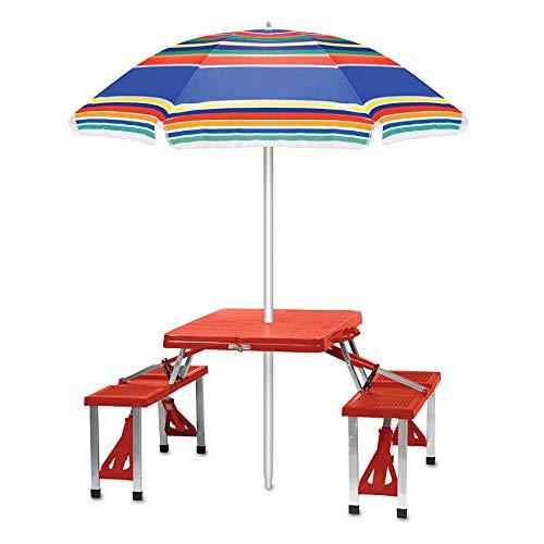 ZHANGLE Juego de sillas Plegables para Mesa de Camping con sombrilla, 4 Asientos, Mesa portátil, Marco de aleación de Aluminio, mesas y sillas de Playa al Aire Libre para Barbacoa, Viajes