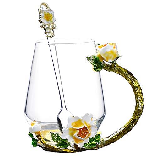 VYEKL Farbe Blume Teetasse Haushalt bleifrei hitzebeständige Glas Tee Milch Tasse mit Löffel 350ml 2 Packungen