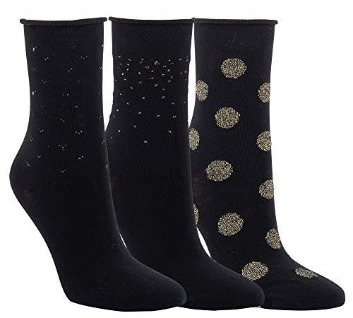 Vitasox 11960 Damen Socken Rollrand Baumwolle Damensocken mit Lurex Gold ohne Naht ohne Gummi Schwarz 3 Paar 39/42