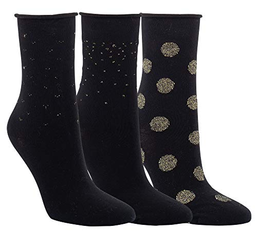 Vitasox 11960 Damen Socken Rollrand Baumwolle Damensocken mit Lurex Gold ohne Naht ohne Gummi Schwarz 3 Paar 35/38