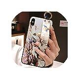 シリコーンリストバンド保護電話ケース用iphone 8 7 6 6 sプラスバックカバー付きリング付きiphone XR X XS 11 Pro MAXフラワーケース用,for iphone 11pro max,2