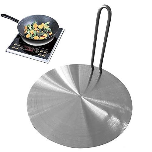 Placa difusora de calor, placa de inducción de difusor de calor de 7.5 pulgadas / 8.5 pulgadas, placa adaptadora de inducción de acero inoxidable con mango separable para ollas de cocina