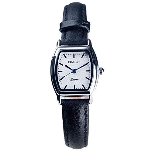 TWCAM Acero Cuero Pulsera Hombre- Reloj De Correa Reloj De Esfera Pequeña para Hombres Reloj Cuadrado Femenino Reloj De Cuarzo Masculino, Negro Plateado Blanco Femenino