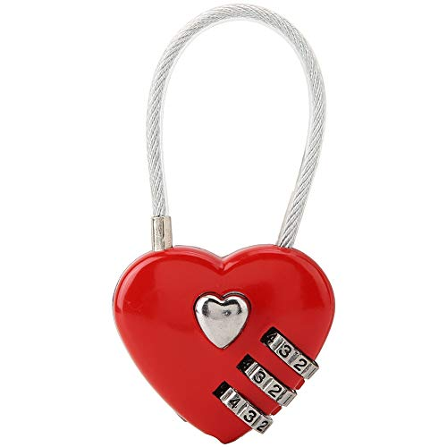 Code Padlock, Heart Shaped Suitcase Coded Lock, for Luggage Hall Locker Jewelry Box Backpack(red)