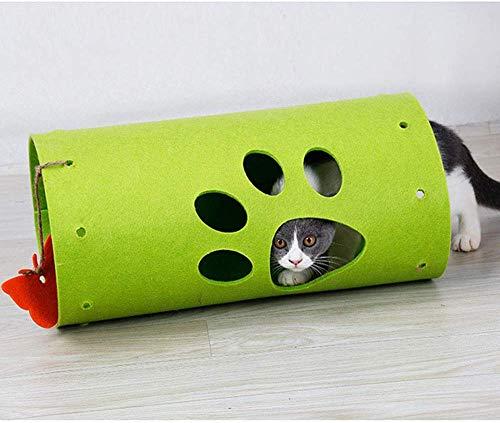 YLCJ Kattensplice Tunnel, speelgoed, voor huisdieren, knutselen, tunnel, inklapbaar, rol voor kitty, training, speelgoed, velt splicing, kat, tube, grijs, Groen