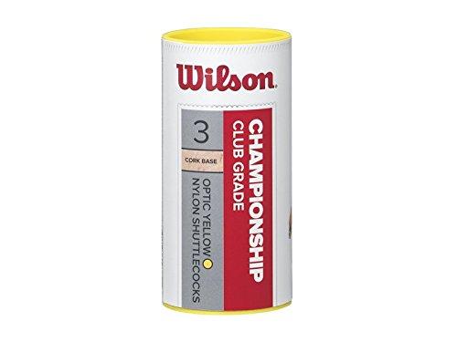 Wilson Badminton-Ball, Championship Shuttlecocks, 3-er Dose, 77 Grains, Gelb, Kunststoff/Naturkork, WRT6040YE77