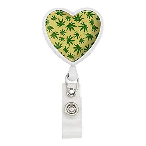 Marijuana Pot Weed Leaf Pattern Heart Lanyard Retractable Reel Badge ID Card Holder
