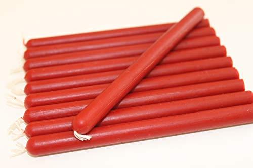 10 rote dünne Kerzen Bienenwachskerzen Kerzen aus 100% Bienenwachs Honigkerzen Weihnachtsbaumkerzen Adventskerzen Ritualkerzen Magiekerzen Opferkerzen (rot, 12 x 1 cm)
