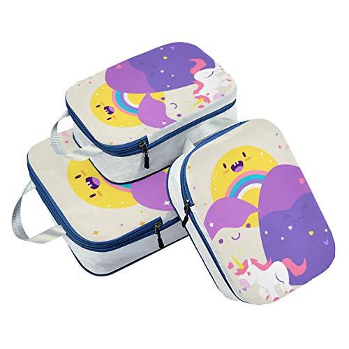 DEZIRO Color Egg Stone Unicorn Packing Cubes 3-Pcs Travel Organizer Accessories