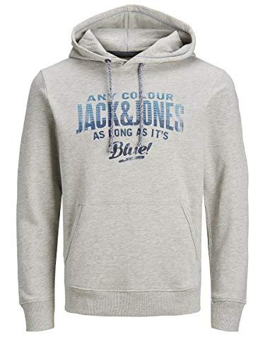 JACK & JONES Herren JJ30JACK Print Sweat Hood LS Kapuzenpullover, Cool Grey, XL