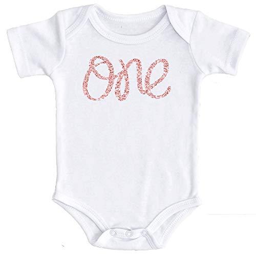 Olive Loves Apple 1st Birthday Onesie Girl Glitter Onesie Rose Gold 1st Birthday Onesie For Baby Girls, Rose Gold Glitter, 6-12 Short Sleeve