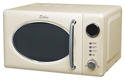 Salco SRM-20.6G - Microonde combinato dal design retrò, 700 W, include funzione grill, beige, 20 litri