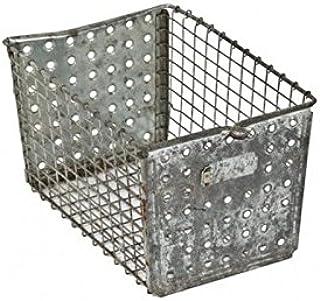 S A Brass Galvanized Tin Basket / Bucket / Planter / Container (Size: 33*22.9*20.3cm)