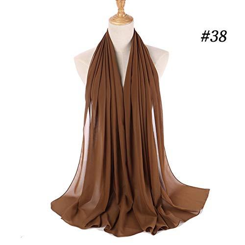 JLWS, Bufanda Lisa de Gasa con Burbujas para Mujer, Abrigo Hijab, chales Estampados de Color sólido, Diadema, Bufandas Hijabs/Bufanda, 60 Colores