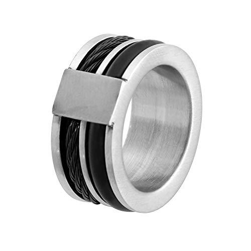 Lucardi - Stahl-Herrenring mit schwarzem Gummi und Kabel - für Herren - Stahl/Schwarz