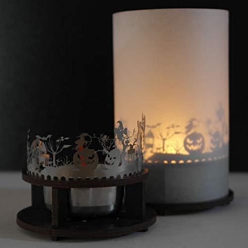 13gramm Halloween Windlicht Schattenspiel Premium Geschenk-Box, inkl. Kerzenhalter, Kerze, Projektionsschirm und Teelicht