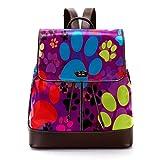 TIZORAX Farbiger Hintergrund mit Pfoten PU Leder Rucksack Mode Schultertasche Rucksack Reisetasche für Frauen Mädchen