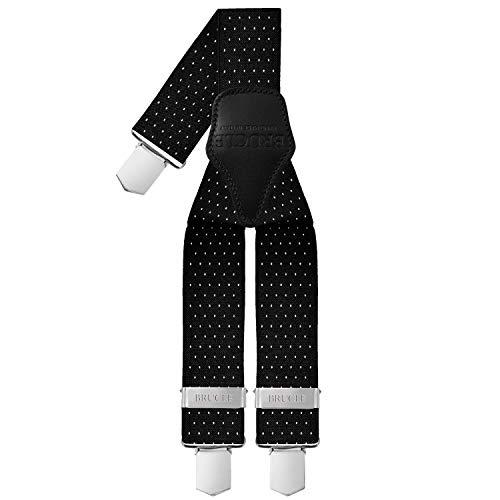 BRUCLE bretelle uomo elastiche regolabili con dorsale in cuoio, forma a Y, fissaggio a clip, colore nero fantasia pois