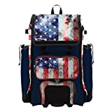Boombah Catchers Superpack Hybrid Rolling Bat Bag - USA Old Glory Navy/Red/White - Wheeled & Backpack Version