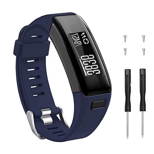 METEQI Correa Compatible con Garmin Vivosmart HR, Accesorios Correa de Reloj de Silicona Suave Ajustable Reemplazo diseñado para Garmin Vivosmart HR (Armada)