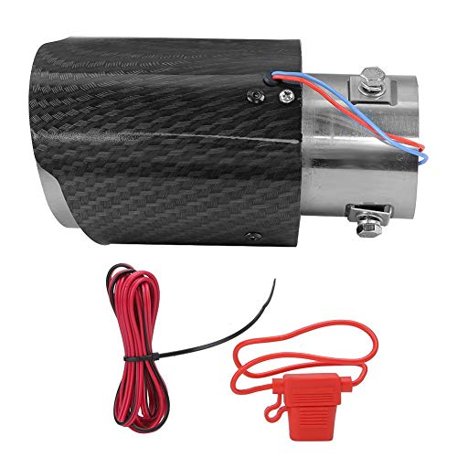 Tubo de escape, punta universal del silenciador del coche Garganta de cola Fibra de carbono modificada LED Sistema de tubo de escape recto luminoso Parte de garganta trasera(Azul)