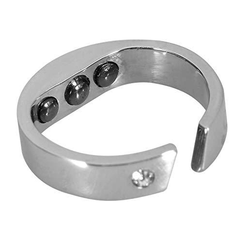 Yiyu 3 Größen Anti Schnarchen Ring, Edelstahl Magnetfeldtherapie Ring, Anti-Schnarchen Mode Magnetic Healthcare Fingerring, Schlafatmungshilfe Akupressur Behandlung x (Color : Silver, Size : M)