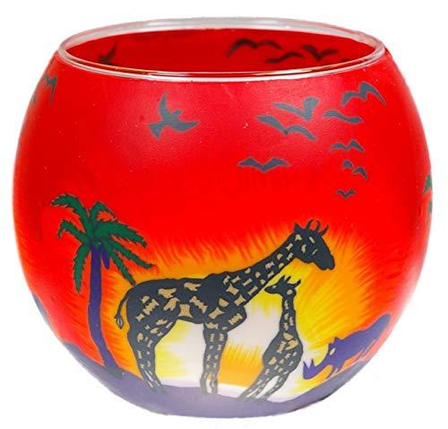 Himmlische Düfte Geschenkartikel GmbH Safari Windlicht, Glas, Bunt, 11 x 11 x 9 cm