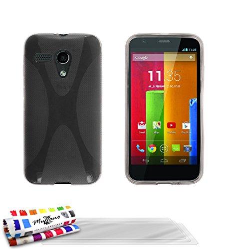 MUZZANO Original X-Cover Flessibile, con 3 pellicole Proteggi Schermo Ultra Trasparenti per Motorola Moto G X1032, Colore: Grigio