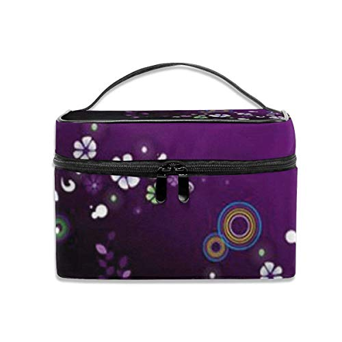 Purple Flower Design Travel Cosmetic Case Organizer Bolsa de Almacenamiento portátil para Artistas con, Bolsillo Incorporado, Estuche Multifuncional Bolsas de tocador para Mujeres