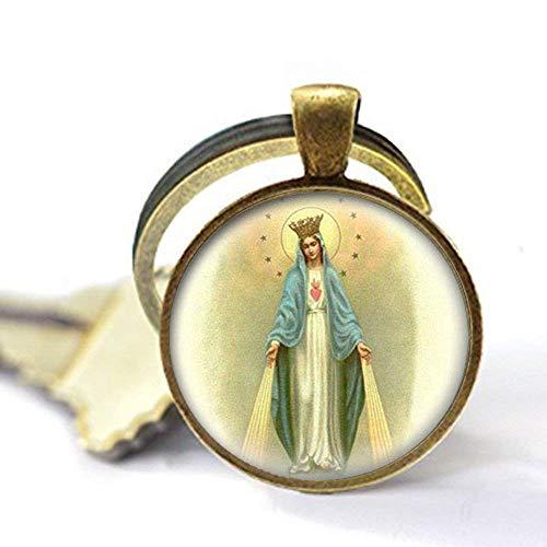 Llavero con medalla de Virgen María de Nuestra Señora de los Milagrosos, joyería de cristal para fotos
