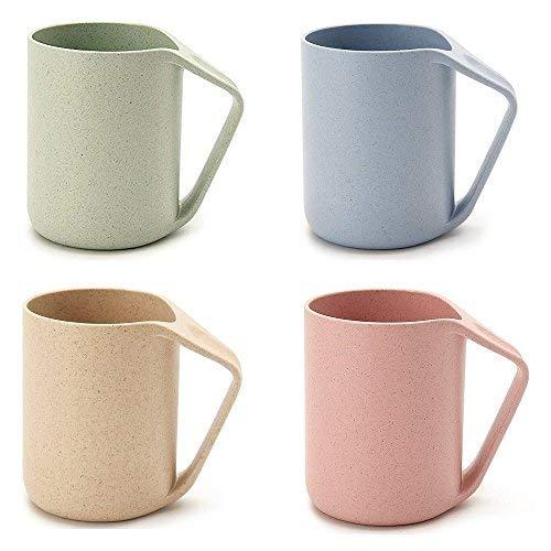 Eco Friendly Taza de paja de trigo Biodegradable Unbreakable Mug para el agua de café de jugo de leche Copas de lavado de té, Pack de 4