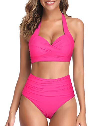 Tempt Me Women's Vintage Swimsuits Hot Pink Retro Halter Ruched High Waist Bikini S