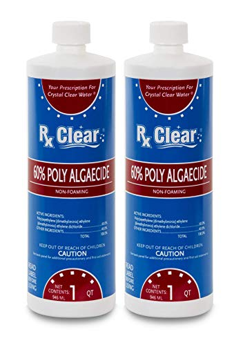 Rx Clear Algaecide 60 Plus | Non-Foaming Formula for Above Or In-Ground Swimming Pools | 60 Percent Poly-Algaecide | Keeping Algae in Suspension | One Quart Bottles | 2 Pack