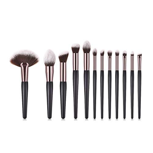 MEIYY Pinceau De Maquillage 12Pcs Noir Pinceaux De Maquillage Mis Outils Grand Fan Brosse Fond De Poudre Poudre Duveteux Mélangeur Brosses